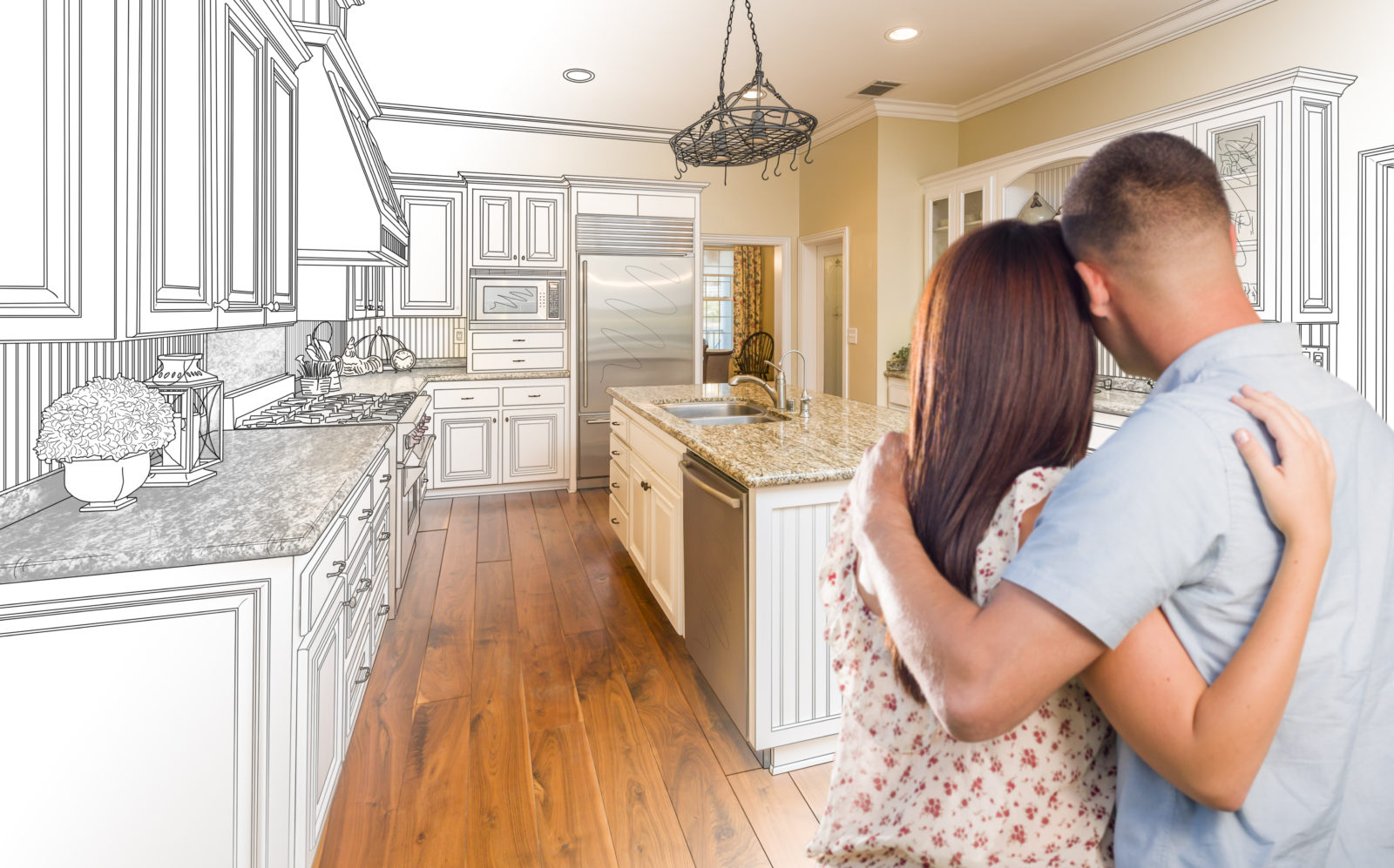 couple planning to redo their kitchen at home with ukrfcu home equity loan