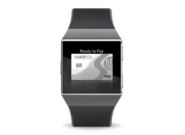 UKRFCU Visa Credit Card on a fitbit watch device digital ewallet