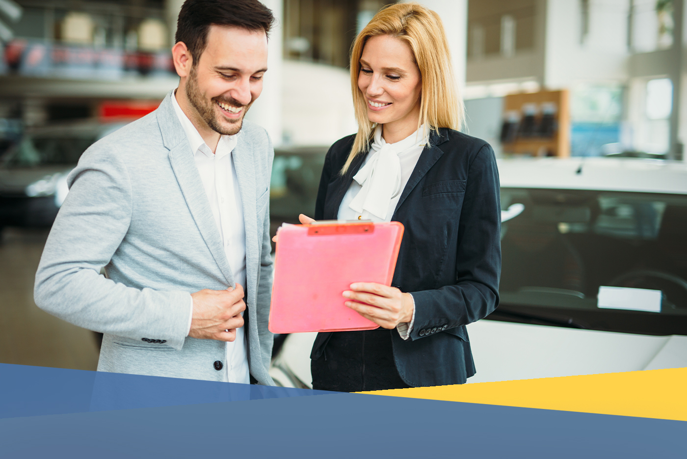 Person purchasing their car at an auto dealer