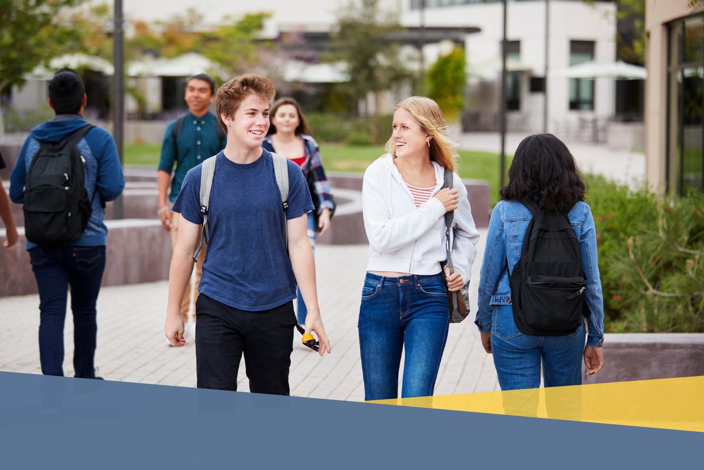 students walking outside of school